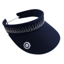Ladies Golf Crystal Telephone wire visor with Ball Marker - Navy