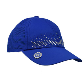 Ladies Golf Crystal Magnetic Soft Fabric Cap with Ball Marker- Blue