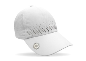 Ladies Golf Crystal Magnetic Soft Fabric Cap with Ball Marker- White