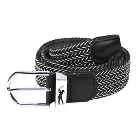 Black and White Stretch Webbing Ladies Golf Belt