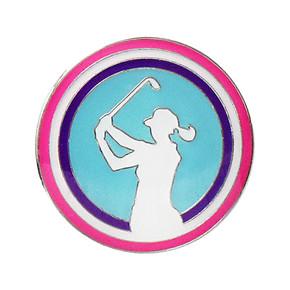 Lady Golfer Ball Marker - Aqua