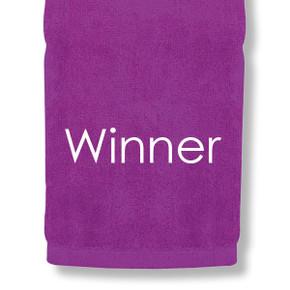 Winner Tri Fold Golf Towel Prize - Purple