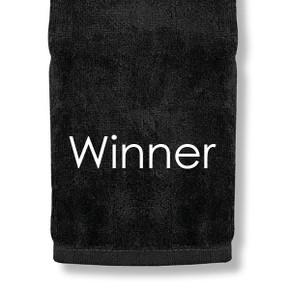 Winner Tri Fold Golf Towel Prize - Black