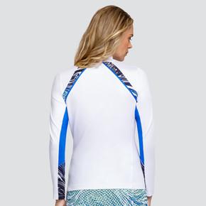 Tail Ladies Golf Trent Long Sleeve 3/4 Zip Polo - White & Maya-Admiral Blue