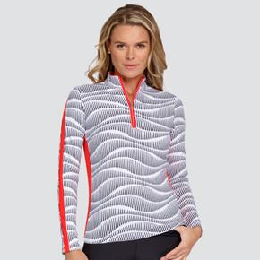 Tail Ladies Golf Davis Long Sleeve 3/4 Zip Polo - Wavelength