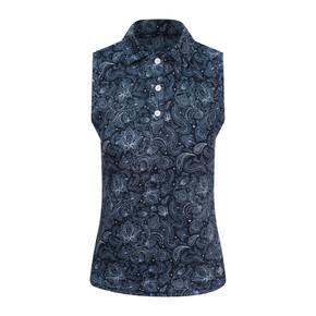 Pure Golf  Rise Sleeveless Polo Shirt - Navy