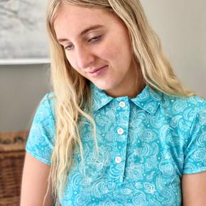 Pure Golf  Rise Cap Sleeve Polo Shirt - Ocean Blue