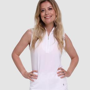 Pure Golf Bloom Ladies Sleeveless Polo Shirt - White