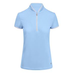 Pure Golf Bloom Ladies Cap Sleeve Polo Shirt - Pale Blue