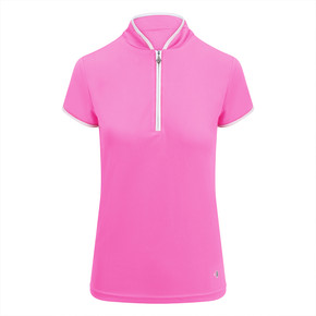 Pure Golf Bloom Ladies Cap Sleeve Polo Shirt - Azalea