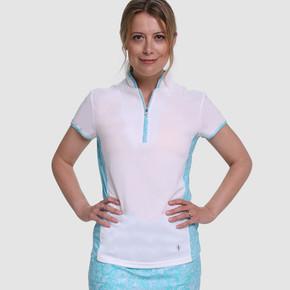 Pure Golf  Bliss Cap Sleeve Polo Shirt - Ocean Blue