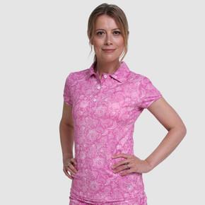 Pure Golf  Rise Cap Sleeve Polo Shirt - Azalea