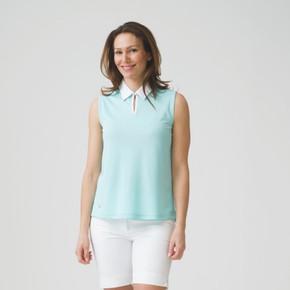 Daily Sports Stacia Sleeveless Polo Shirt Azuk Blue - Front Lifestyle