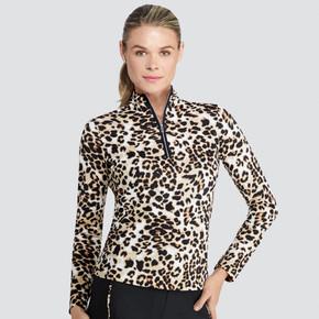 Tail Ladies Golf Tatianna Long Sleeve 3/4 Zip Polo - Feisty Feline Leopard