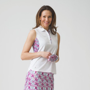 Daily Sports Bess Sleeveless Polo Shirt White - Front Lifestyle