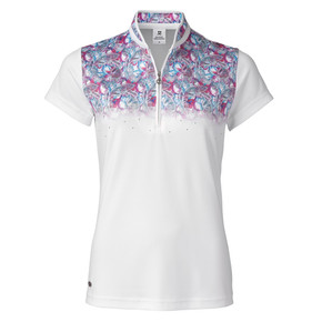 Daily Sports Paisley Cap Sleeve Polo Shirt White - Front