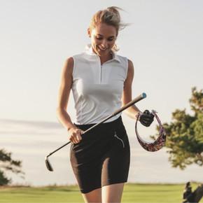 Daily Sports Madge Black Ladies Golf Skort 45 CM - Front Lifestyle
