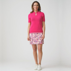 Daily Sports Rickie Sangaria Red Ladies Golf Skort 45 CM - Front Lifestyle