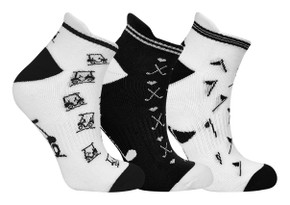 3 Pair Pack of Black and White Ladies Golf Socks