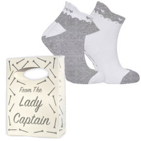 From the Lady Captain Silver Glitter Bag and 2 Pack Grey Sock Set