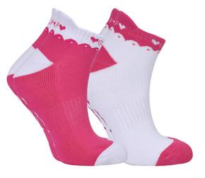 2 Pair Pack Of Pink And White Ladies Golf Socks