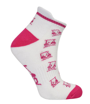 3 Pair Pack of Pink And White Ladies Golf Socks