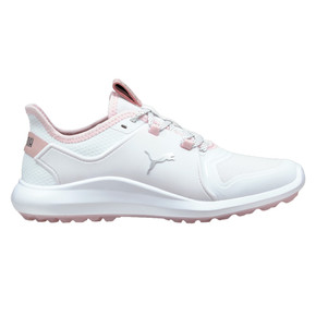Puma Ladies Ignite Fasten8 Spikeless Waterproof Golf Shoes- White and Pink