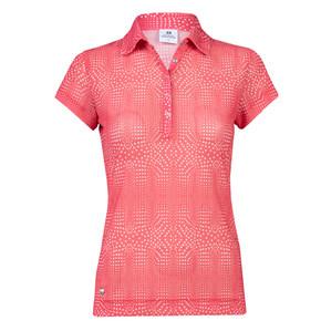 Daily Sports Aggie Sheer Mesh Cap Sleeve Polo Shirt- Watermelon