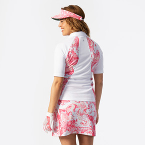 Daily Sports Adelina Half Sleeve Polo Shirt - White and Fruit Punch