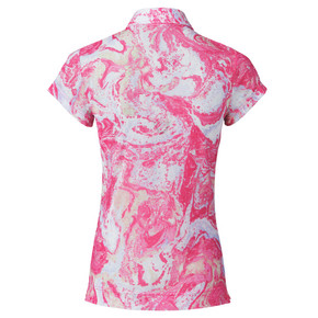 Daily Sports Adelina Sheer Mesh Cap Sleeve Polo Shirt - Fruit Punch