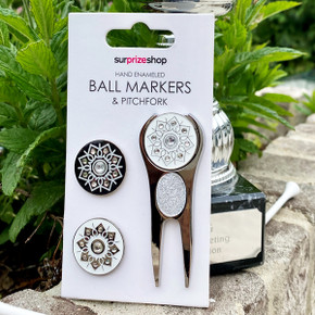 Silver Crystal Golf Ball Markers and Pitchfork Pack