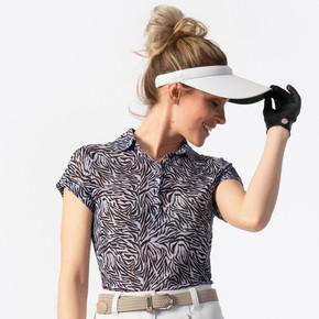Daily Sports Kiara Sheer Mesh Cap Sleeve Polo Shirt - Zebra