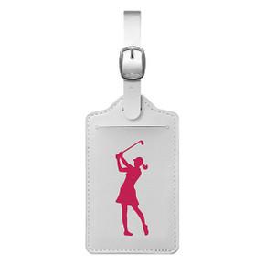 Lady Golfer Luggage Tag - White / Pink