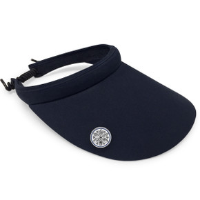Ladies Golf Wide Brimmed Telephone Wire Visor with Crystal Ball Marker - Navy