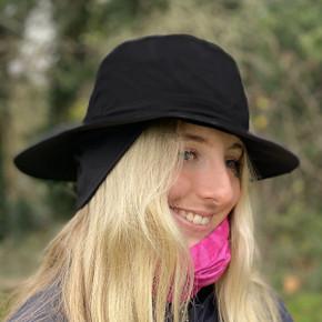 Ladies Golf Waterproof Fleece Lined Rain Hat- Black