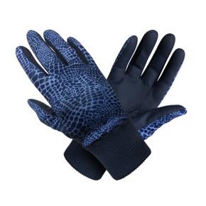 Ladies Golf Polar Stretch Pair of Winter Gloves - Navy Snake