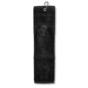 Ladies Crystal Golf Ball and Tee Tri-Fold Golf Towel- Black