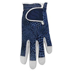 Cabretta Leather Lycra Comfort Stretch Ladies Golf Glove - Navy Snake