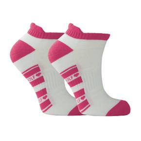 Pair Of Pink and White Ladies Golf Socks