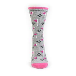 Pair of Grey Ladies Golf Crew Socks with Flag Design