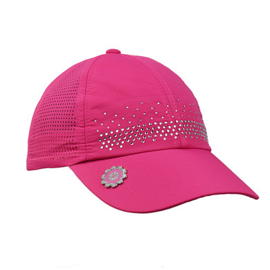 Ladies Golf Crystal Magnetic Soft Fabric Cap with Ball Marker- Pink