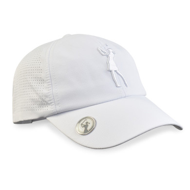 Lady Golfer Magnetic Soft Fabric Golf Cap -White