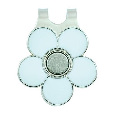 Ladies Golf Flower Visor Clip- White