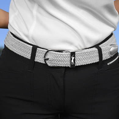 Stretch Webbing Ladies Golf Belt - Metallic Silver