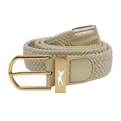 Metallic Gold Stretch Webbing Ladies Golf Belt