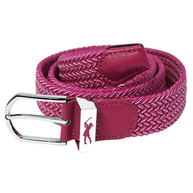 Stretch Webbing Ladies Golf Belt - Pink and White