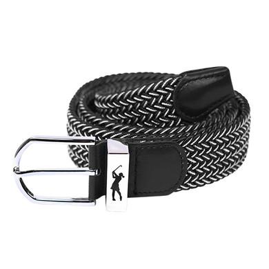Black and White Stretch Webbing Ladies Golf Belt