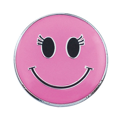 Pink Smiley Face Golf Ball Marker