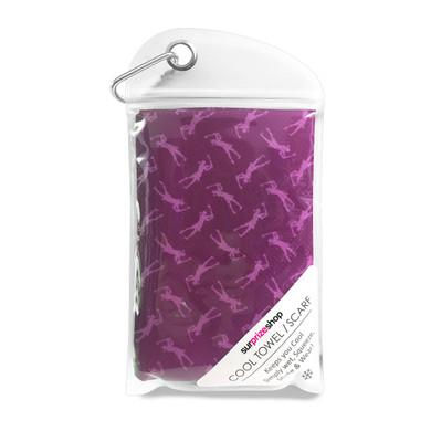 Lady Golfer Golf Towel / Golf Cool Scarf - Purple
