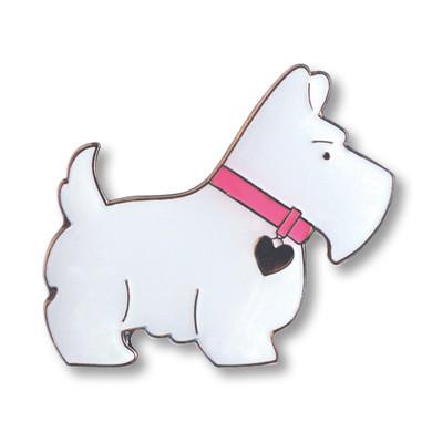 White Scottie Dog Golf  Ball Marker